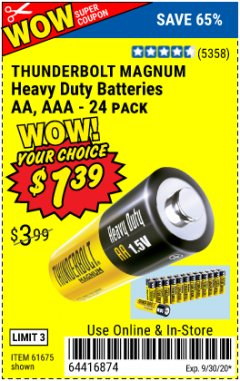 Harbor Freight Coupon 24 PACK HEAVY DUTY BATTERIES Lot No. 61675/68382/61323/61677/68377/61273 Expired: 9/30/20 - $1.39