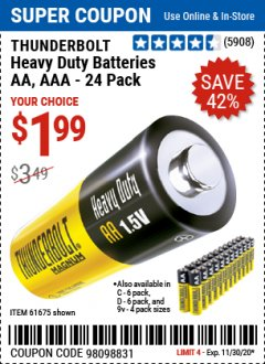 Harbor Freight Coupon 24 PACK HEAVY DUTY BATTERIES Lot No. 61675/68382/61323/61677/68377/61273 Expired: 11/30/20 - $1.99