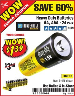 Harbor Freight Coupon 24 PACK HEAVY DUTY BATTERIES Lot No. 61675/68382/61323/61677/68377/61273 Expired: 12/31/20 - $1.39