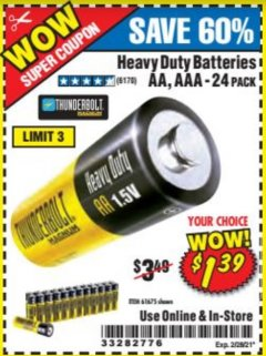 Harbor Freight Coupon 24 PACK HEAVY DUTY BATTERIES Lot No. 61675/68382/61323/61677/68377/61273 Expired: 2/26/21 - $1.39