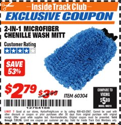 Harbor Freight ITC Coupon 2-IN-1 MICROFIBER CHENILLE WASH MITT Lot No. 68433/60304 Expired: 7/31/18 - $2.79
