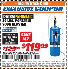 Harbor Freight ITC Coupon 40 LB. PORTABLE SODA BLASTER Lot No. 60801/67625/61850 Expired: 8/31/19 - $119.99