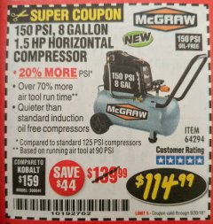 Harbor Freight Coupon MCGRAW 150 PSI, 8 GALLON, 1.5 HP HORIZONTAL COMPRESSOR Lot No. 64294/56269 Expired: 9/30/18 - $114.99