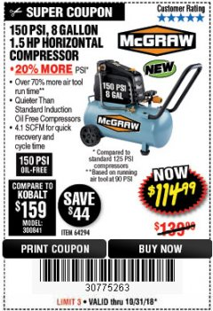 Harbor Freight Coupon MCGRAW 150 PSI, 8 GALLON, 1.5 HP HORIZONTAL COMPRESSOR Lot No. 64294/56269 Expired: 10/31/18 - $114.99