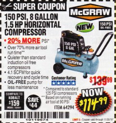Harbor Freight Coupon MCGRAW 150 PSI, 8 GALLON, 1.5 HP HORIZONTAL COMPRESSOR Lot No. 64294/56269 Expired: 11/30/18 - $114.99