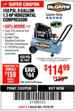 Harbor Freight Coupon MCGRAW 150 PSI, 8 GALLON, 1.5 HP HORIZONTAL COMPRESSOR Lot No. 64294/56269 Expired: 12/16/18 - $114.99