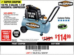 Harbor Freight Coupon MCGRAW 150 PSI, 8 GALLON, 1.5 HP HORIZONTAL COMPRESSOR Lot No. 64294/56269 Expired: 12/24/18 - $114.99