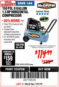 Harbor Freight Coupon MCGRAW 150 PSI, 8 GALLON, 1.5 HP HORIZONTAL COMPRESSOR Lot No. 64294/56269 Expired: 1/31/19 - $114.99