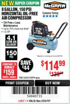 Harbor Freight Coupon MCGRAW 150 PSI, 8 GALLON, 1.5 HP HORIZONTAL COMPRESSOR Lot No. 64294/56269 Expired: 2/24/19 - $114.99