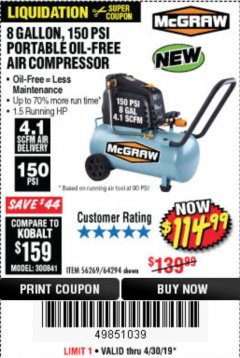 Harbor Freight Coupon MCGRAW 150 PSI, 8 GALLON, 1.5 HP HORIZONTAL COMPRESSOR Lot No. 64294/56269 Expired: 4/30/19 - $114.99