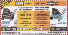 Harbor Freight Coupon MCGRAW 150 PSI, 8 GALLON, 1.5 HP HORIZONTAL COMPRESSOR Lot No. 64294/56269 Expired: 8/31/19 - $124.99