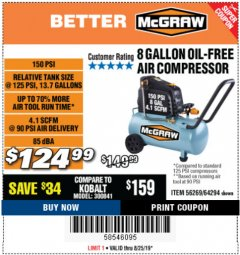 Harbor Freight Coupon MCGRAW 150 PSI, 8 GALLON, 1.5 HP HORIZONTAL COMPRESSOR Lot No. 64294/56269 Expired: 8/25/19 - $124.99