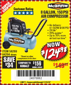 Harbor Freight Coupon MCGRAW 150 PSI, 8 GALLON, 1.5 HP HORIZONTAL COMPRESSOR Lot No. 64294/56269 Expired: 11/13/19 - $124.98