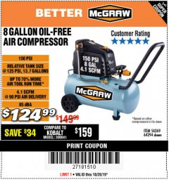 Harbor Freight Coupon MCGRAW 150 PSI, 8 GALLON, 1.5 HP HORIZONTAL COMPRESSOR Lot No. 64294/56269 Expired: 10/20/19 - $124.99
