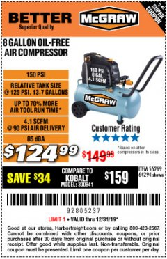 Harbor Freight Coupon MCGRAW 150 PSI, 8 GALLON, 1.5 HP HORIZONTAL COMPRESSOR Lot No. 64294/56269 Expired: 12/31/19 - $124.99