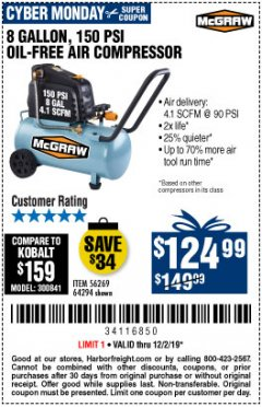 Harbor Freight Coupon MCGRAW 150 PSI, 8 GALLON, 1.5 HP HORIZONTAL COMPRESSOR Lot No. 64294/56269 Expired: 12/2/19 - $124.99