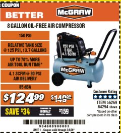 Harbor Freight Coupon MCGRAW 150 PSI, 8 GALLON, 1.5 HP HORIZONTAL COMPRESSOR Lot No. 64294/56269 Expired: 2/8/20 - $124.99