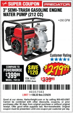 "Harbor Freight Coupon PREDATOR 3"" SEMI-TRASH GASOLINE ENGINE WATER PUMP Lot No. 63406/56162 Expired: 2/29/20 - $279.99"