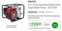 "Harbor Freight Coupon PREDATOR 3"" SEMI-TRASH GASOLINE ENGINE WATER PUMP Lot No. 63406/56162 Expired: 6/30/20 - $299.99"