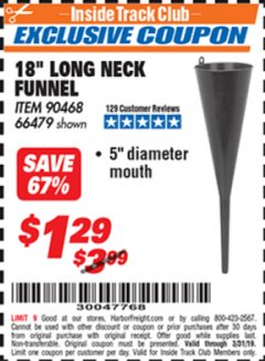 "Harbor Freight ITC Coupon 18"" LONG NECK BLACK FUNNEL Lot No. 66479 Expired: 3/31/19 - $1.29"