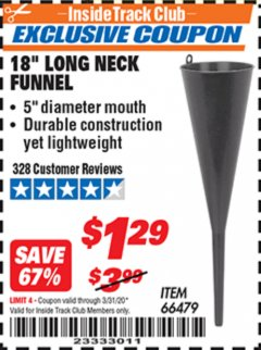 "Harbor Freight ITC Coupon 18"" LONG NECK BLACK FUNNEL Lot No. 66479 Expired: 3/31/20 - $1.29"