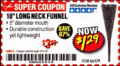 "Harbor Freight Coupon 18"" LONG NECK BLACK FUNNEL Lot No. 66479 Expired: 3/31/20 - $1.29"
