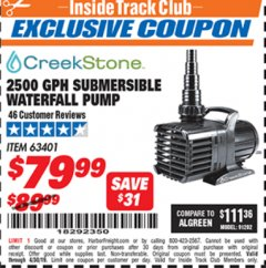 Harbor Freight ITC Coupon 2500 GPH SUBMERSIBLE WATERFALL PUMP Lot No. 63401 Expired: 4/30/19 - $79.99