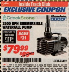Harbor Freight ITC Coupon 2500 GPH SUBMERSIBLE WATERFALL PUMP Lot No. 63401 Expired: 7/31/19 - $79.99