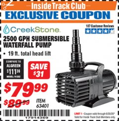 Harbor Freight ITC Coupon 2500 GPH SUBMERSIBLE WATERFALL PUMP Lot No. 63401 Valid Thru: 6/30/20 - $79.99