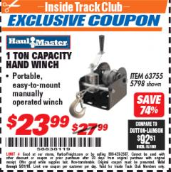 Harbor Freight ITC Coupon 1 TON CAPACITY HAND WINCH Lot No. 5798 Expired: 5/31/18 - $23.99