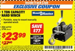 Harbor Freight ITC Coupon 1 TON CAPACITY HAND WINCH Lot No. 5798 Expired: 8/31/18 - $23.99