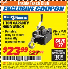 Harbor Freight ITC Coupon 1 TON CAPACITY HAND WINCH Lot No. 5798 Expired: 10/31/18 - $23.99