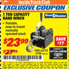 Harbor Freight ITC Coupon 1 TON CAPACITY HAND WINCH Lot No. 5798 Expired: 2/28/19 - $23.99