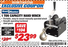 Harbor Freight ITC Coupon 1 TON CAPACITY HAND WINCH Lot No. 5798 Expired: 8/31/19 - $23.99