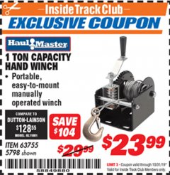 Harbor Freight ITC Coupon 1 TON CAPACITY HAND WINCH Lot No. 5798 Expired: 10/31/19 - $23.99