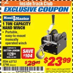 Harbor Freight ITC Coupon 1 TON CAPACITY HAND WINCH Lot No. 5798 Valid: 2/1/20 - 2/29/20 - $23.99
