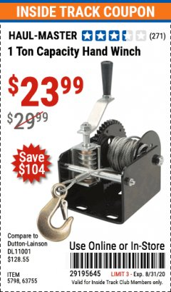 Harbor Freight ITC Coupon 1 TON CAPACITY HAND WINCH Lot No. 5798/63755 Expired: 8/31/20 - $23.99