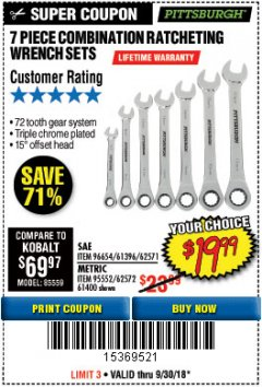 Harbor Freight Coupon 7 PIECE COMBINATION RATCHETING WRENCH SET Lot No. 62571 / 96654 / 61396 / 95552 / 62572 / 61400 Expired: 9/30/18 - $19.99