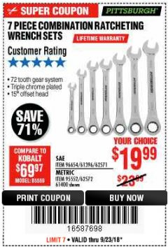Harbor Freight Coupon 7 PIECE COMBINATION RATCHETING WRENCH SET Lot No. 62571 / 96654 / 61396 / 95552 / 62572 / 61400 Expired: 9/23/18 - $19.99