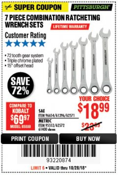 Harbor Freight Coupon 7 PIECE COMBINATION RATCHETING WRENCH SET Lot No. 62571 / 96654 / 61396 / 95552 / 62572 / 61400 Expired: 10/28/18 - $18.99