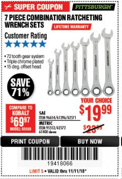 Harbor Freight Coupon 7 PIECE COMBINATION RATCHETING WRENCH SET Lot No. 62571 / 96654 / 61396 / 95552 / 62572 / 61400 Expired: 11/11/18 - $19.99