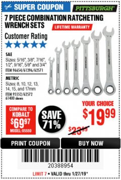 Harbor Freight Coupon 7 PIECE COMBINATION RATCHETING WRENCH SET Lot No. 62571 / 96654 / 61396 / 95552 / 62572 / 61400 Expired: 1/27/19 - $19.99