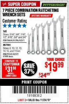 Harbor Freight Coupon 7 PIECE COMBINATION RATCHETING WRENCH SET Lot No. 62571 / 96654 / 61396 / 95552 / 62572 / 61400 Expired: 11/24/19 - $19.99