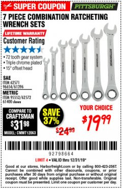 Harbor Freight Coupon 7 PIECE COMBINATION RATCHETING WRENCH SET Lot No. 62571 / 96654 / 61396 / 95552 / 62572 / 61400 Expired: 12/31/19 - $19.99