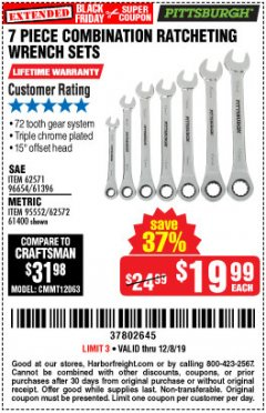 Harbor Freight Coupon 7 PIECE COMBINATION RATCHETING WRENCH SET Lot No. 62571 / 96654 / 61396 / 95552 / 62572 / 61400 Expired: 12/8/19 - $19.99