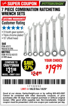Harbor Freight Coupon 7 PIECE COMBINATION RATCHETING WRENCH SET Lot No. 62571 / 96654 / 61396 / 95552 / 62572 / 61400 Expired: 1/6/20 - $19.99