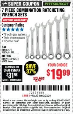 Harbor Freight Coupon 7 PIECE COMBINATION RATCHETING WRENCH SET Lot No. 62571 / 96654 / 61396 / 95552 / 62572 / 61400 Expired: 2/23/20 - $19.99