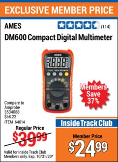 Harbor Freight ITC Coupon AMES COMPACT SIZED DIGITAL MULTIMETER Lot No. 64014 Valid Thru: 10/31/20 - $24.99