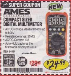 Harbor Freight Coupon AMES COMPACT SIZED DIGITAL MULTIMETER Lot No. 64014 Expired: 6/30/18 - $24.99