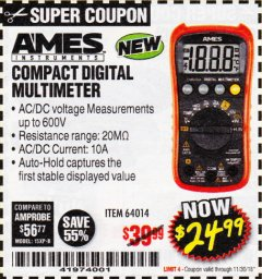 Harbor Freight Coupon AMES COMPACT SIZED DIGITAL MULTIMETER Lot No. 64014 Expired: 11/30/18 - $24.99